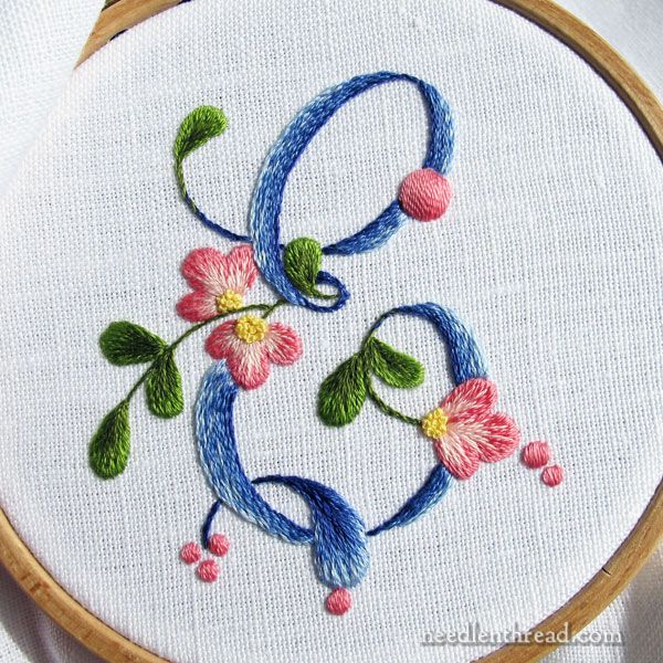 Embroidered E monogram with all the stitching details so you can stitch it, too!