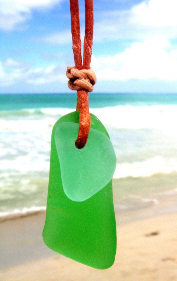 Hawaiian Emerald Green Beach Glass with Aqua Beach Glass Overlay on India Leather, completely adjustable, Necklace by LindseysBeachGlass, Surfer Chic, $38.50