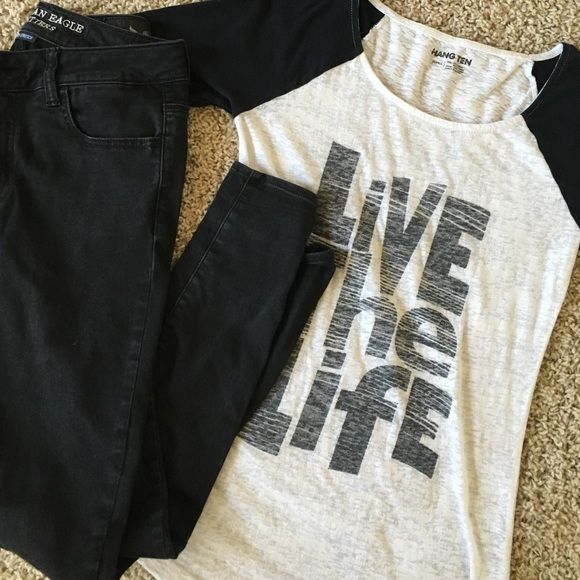 "Black and White Burnout Tee Black and white burnout tee with sleeves that go a little above the elbow with ""Live the Life"" quote. Hand-me-down, but in very good condition; no holes, tears, or stains. Hang Ten Tops Tees - Short Sleeve"