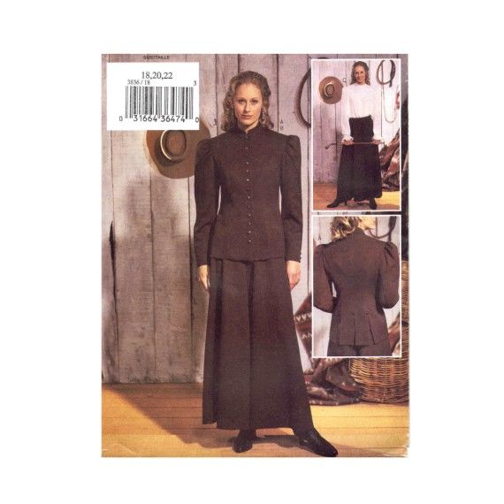 Horse Riding Jacket Blouse Culottes Annie Oakley Historical Equestrian Costume Butterick 3836 Sewing Pattern