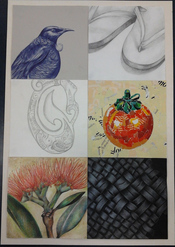 Kiwiana themed unit plan I did with yr 9 students. 6 Different techniques/mediums. Blue pen drawing, tonal pencil drawing, continuous line drawing, collage, water colour pencil drawing/painting and white pencil on black paper drawing.  - Franda Zondagh
