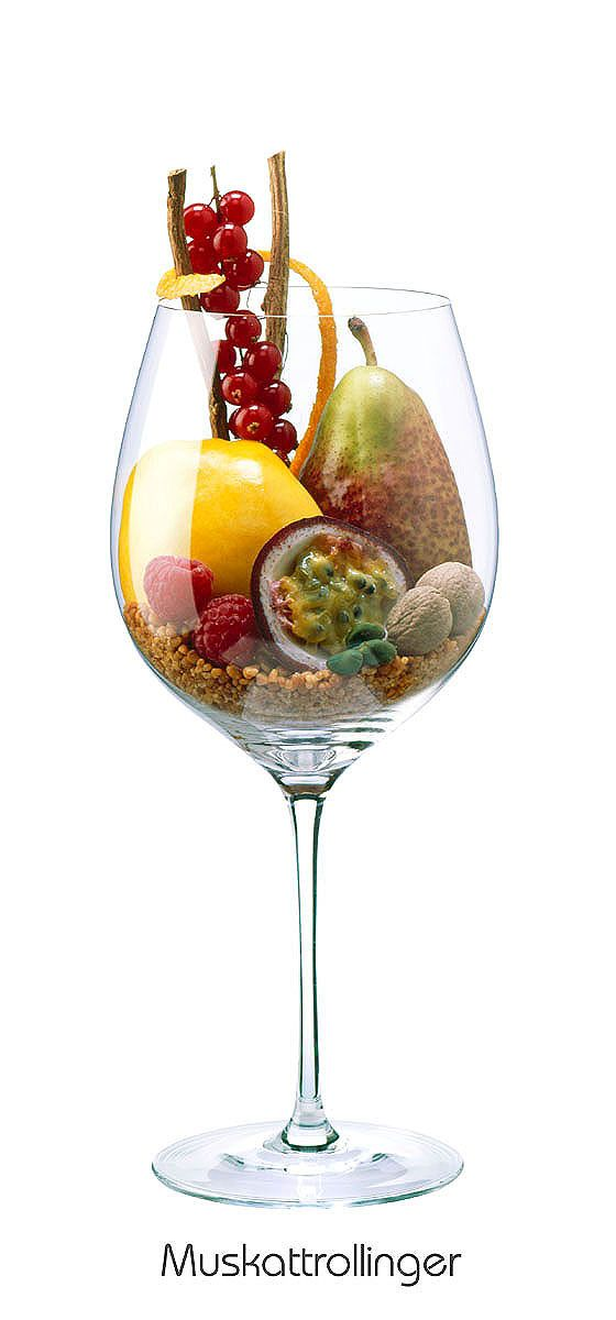 MUSKATTROLLINGER  Nutmeg, orange peel, quince, pistachio, red currant, raspberry, passion fruit, pear, licorice, Brittle