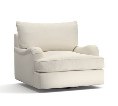 PB Comfort English Arm Upholstered Swivel Armchair Knife Edge, Polyester Wrapped Cushions, Textured Basketweave Ivory