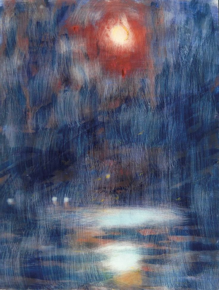 Christian Rohlfs - Blue Moonlight on the Lake Maggiore, 1933, Water tempera on handmade paper, 78.6 x 58 cm