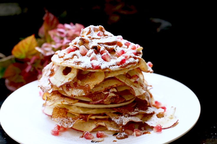 Apple, Cinnamon and Caramel Pancake stack