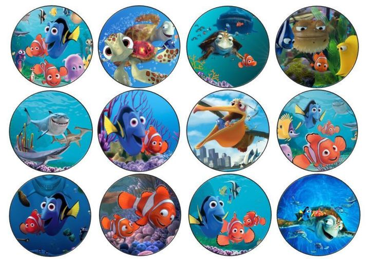 24 Finding Nemo Various Edible Cupcake Toppers Icing or Wafer