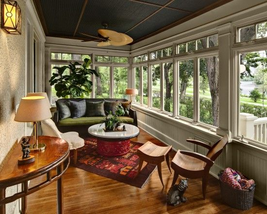 Black and wood ceilings with white walls and trim. I love the french and contemporary style of this sun porch.