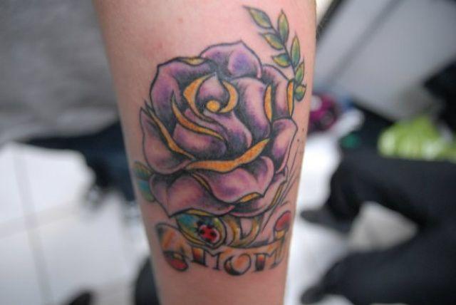 3D purple rose tattoo for women