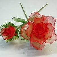 Stocking Flowers Tutorials-so easy and beautiful http://pinxart.blogspot.in/2010/01/stocking-flowers.html?m=1