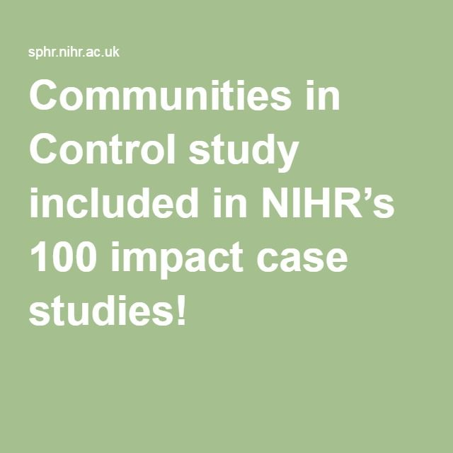 Communities in Control study included in NIHR's 100 impact case studies!