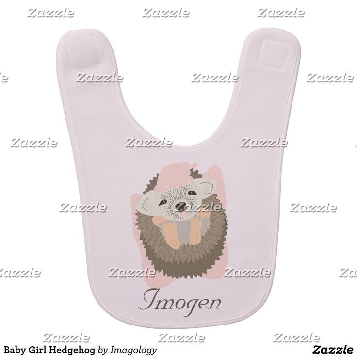 Baby Girl Hedgehog Bib
