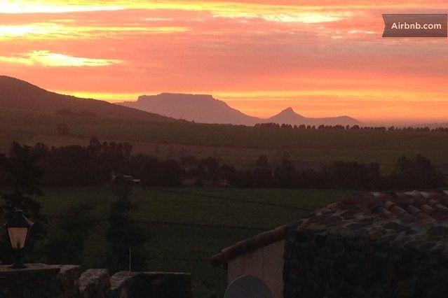Sunset of Table Mountain from Casa Mori, Stellenbosch