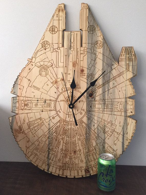 These Oversized Millennium Falcon Clocks are made from reclaimed pallet wood, planed and jointed then laser engraved to create HUGE, unique and