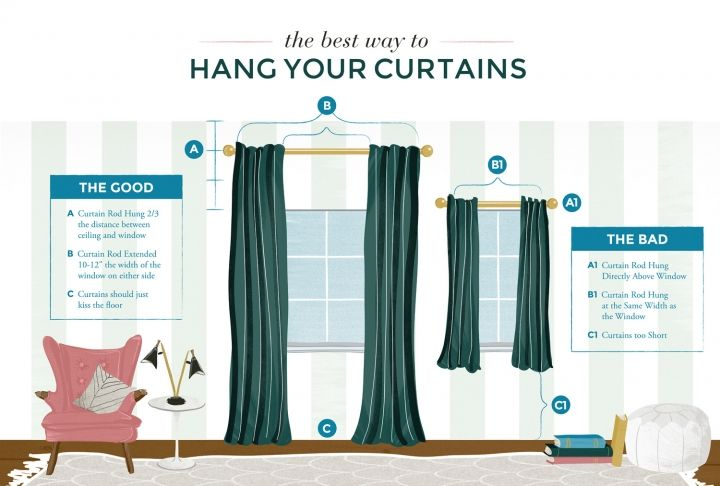 how to hang up curtain rods the best way to hang your curtains handy smart 8674