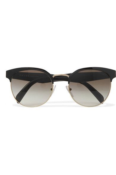 Prada - Round-frame Acetate And Gold-tone Sunglasses - Black - One size