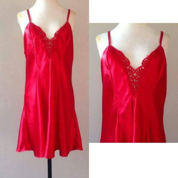 1X / Satin Nightie by Frederick's / Red Liquid Silk / by LustNLux