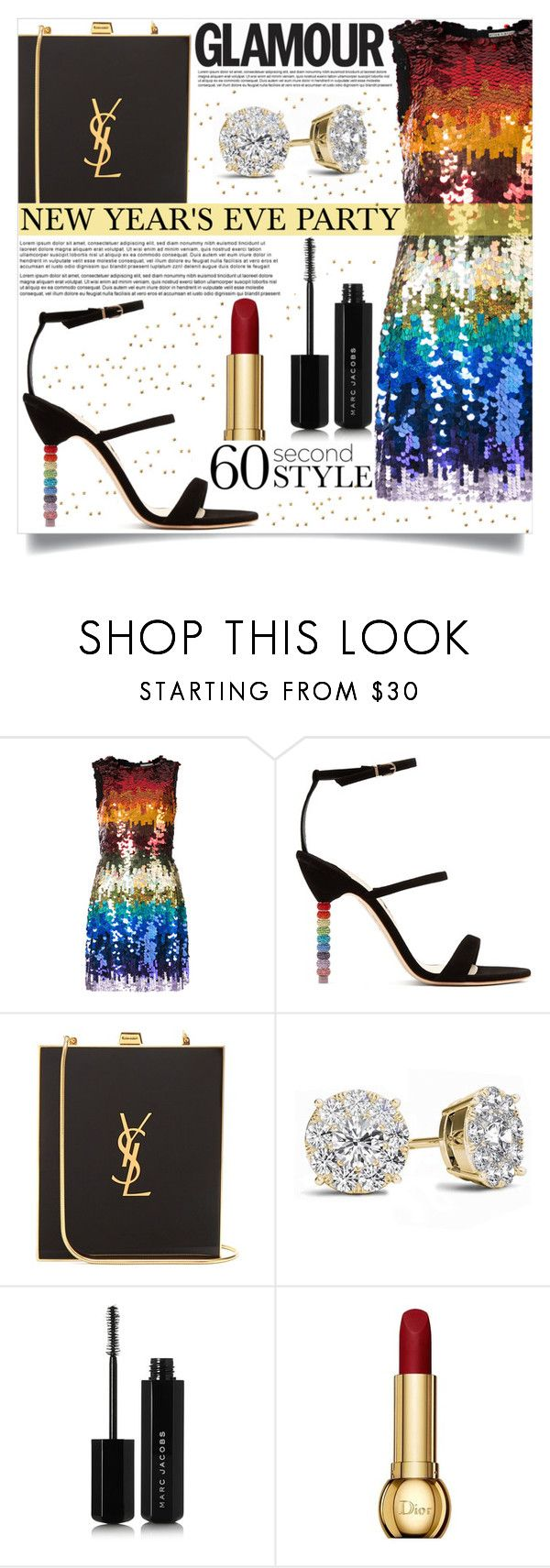 """""""New Year's Eve"""" by mistressofdarkness ❤ liked on Polyvore featuring Alice + Olivia, Sophia Webster, Yves Saint Laurent, Goody, Marc Jacobs and Christian Dior"""