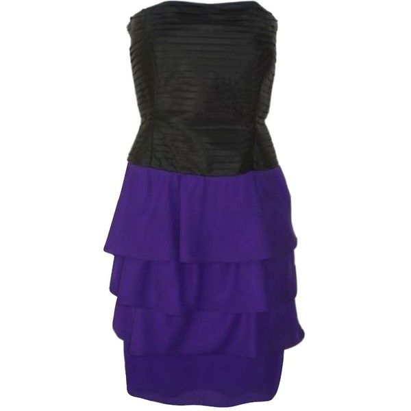 Pre-owned Black & Purple Helga Bandeau Dress (1 775 SEK) ❤ liked on Polyvore featuring dresses, black, tiered cocktail dresses, cocktail party dress, night out dresses, purple corset and purple dress