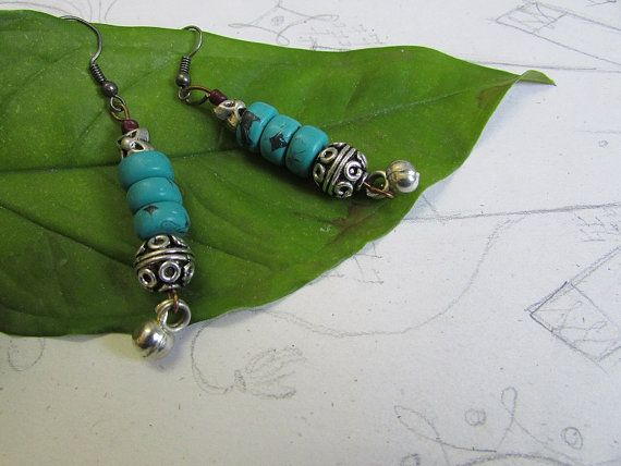 Turquoise - boho -white metal- oxidised -tribal earrings   # Item is handmade using turquoise beads, oxidised beads and ghunghru.     - The item comes
