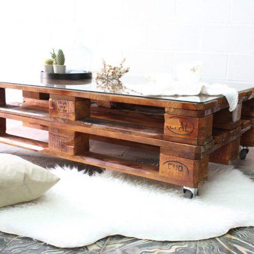mesa de palets con ruedas y vidrio mesa hecha con palets mesa palets jardn