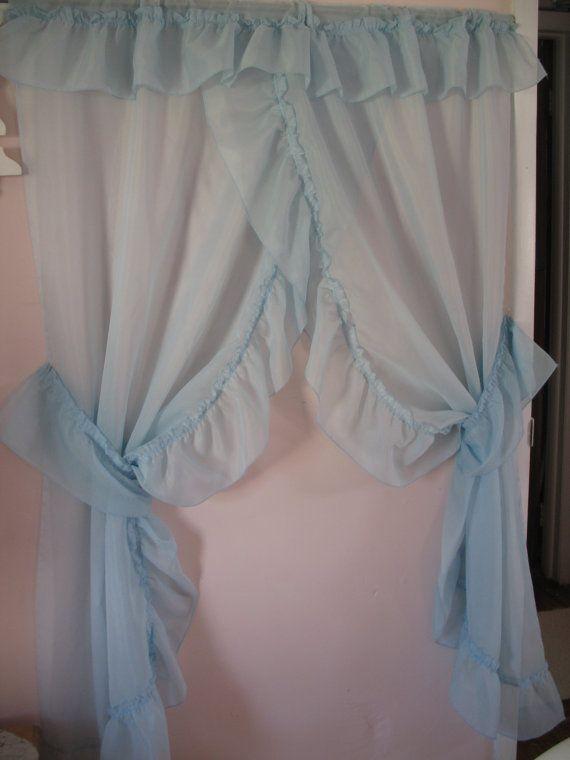 Vintage Blue Priscilla Curtain Set 2 Window's by SusieQsKnappShack - Top 25+ Best Priscilla Curtains Ideas On Pinterest Country