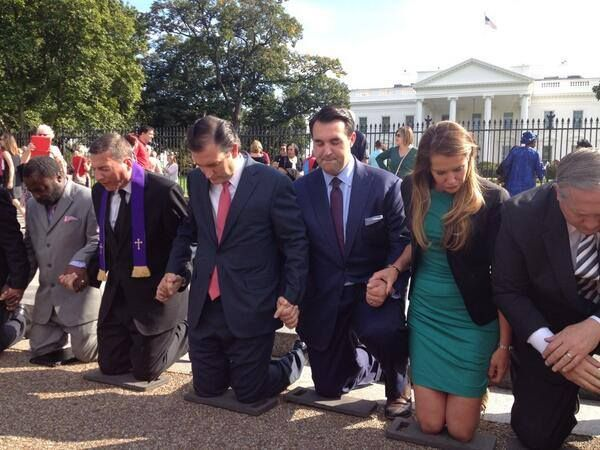 Photo Of The Day: Ted Cruz Kneels In Prayer Outside The White House  The Lord is with you, Ted   Praying for the pastor that is being held by Iran for a yr now for preaching the Gospel of our Lord Jesus Christ. ....    ♥ this!!!