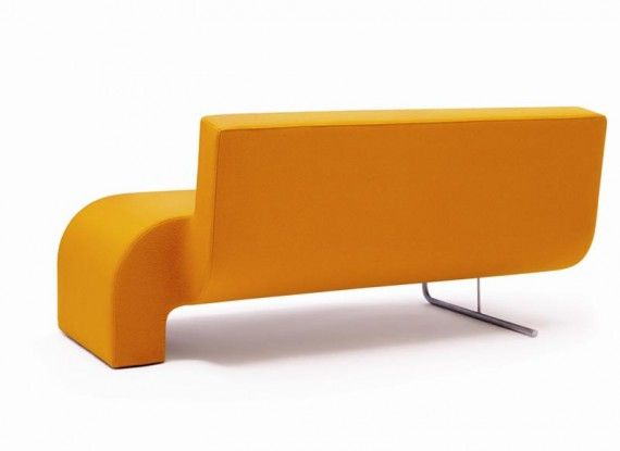 Cool Asymmetric Orange Sofa design by Shin and Tomoko Azumi