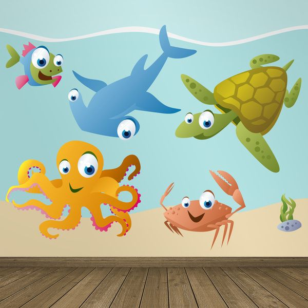 Acquario pesce - Adesivi per bambini. Adesivi murali bambini a kit. #adesivimurali #decorazione #modelli #mosaico #martillo #tartaruga #pesce #granchio #polpo #StickersMurali