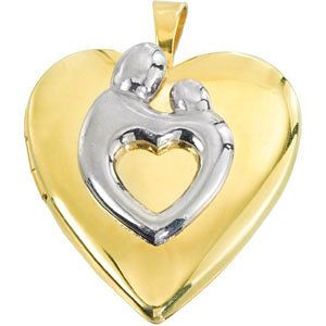 Two-tone Polished Mother and Child Heart-shaped Locket. $95.00