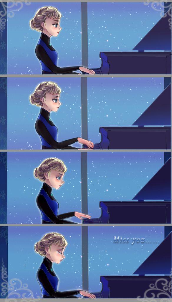 Elsa playing piano
