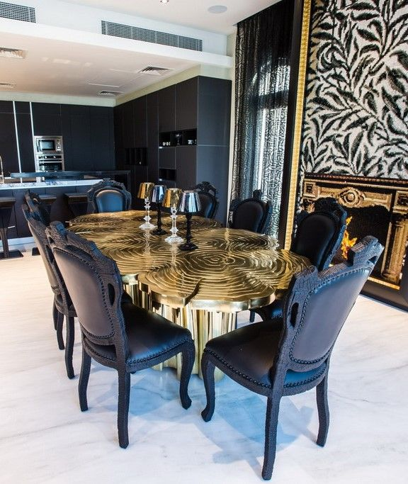 FORTUNA DINING TABLE - Table made from polished brass body and table-top and engraved details for texture. | See more: www.bocadolobo.com #bocadolobo #furniture #diningtable