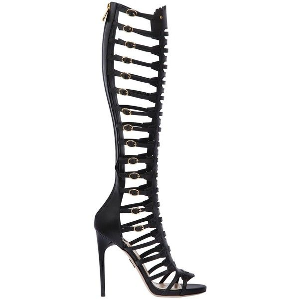 Paul Andrew Women 110mm Athena Leather Gladiator Sandals ($1,010) ❤ liked on Polyvore featuring shoes, sandals, black, black sandals, black high heel sandals, black platform shoes, platform sandals and leather gladiator sandals