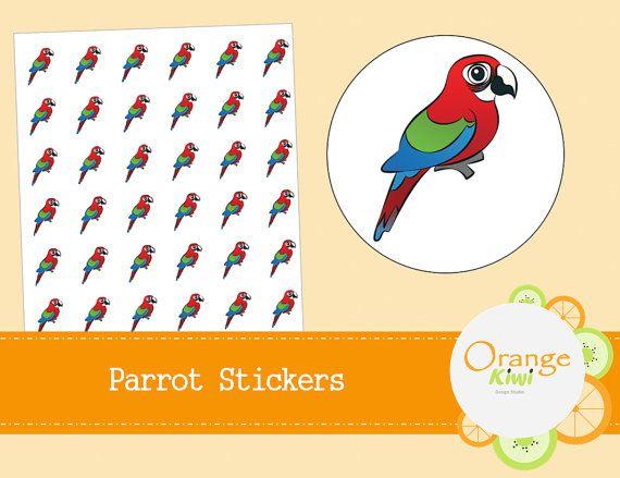 Parrot Planner Stickers  Bird Stickers  by OrangeKiwiDesign