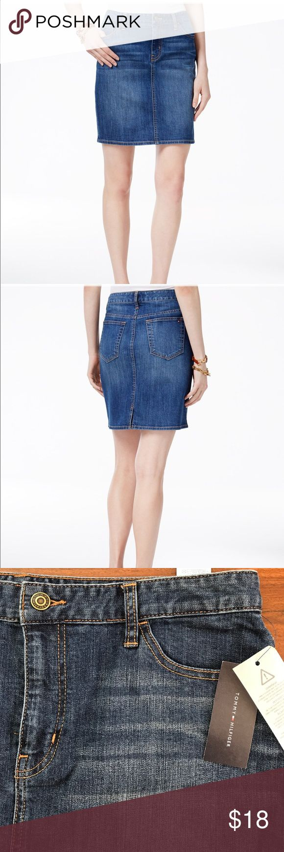 NWT Tommy Hilfiger Denim Skirt Size 12 TH classic Denim skirt. Zipper and button closure and belt loops. Slit at center back. Cotton/Lycra spandex 🙂 Tommy Hilfiger Skirts