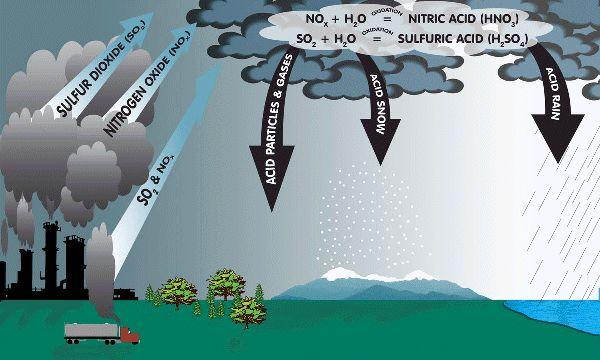 la lluvia acida- acid rain  hay muchas las lluvia acidas en China y India porque las fabricas