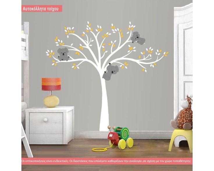 Χαριτωμένα κοάλα, λευκός κορμός, παράσταση σε αυτοκόλλητα τοίχου , δειτε το!