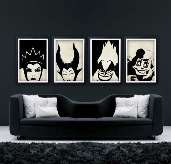 "Disney REDO NON DISNEY PICTURES Villains Set (The Evil Queen, Maleficent, Ursula, Cruella de Vil) -DISNEY COLLECTION- Minimalist Retro Poster 11""x17"", Digital Print on Etsy, $40.00"
