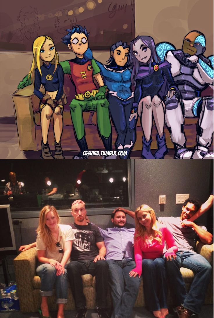 Teen Titans. I want to cut Terra out, but Robin's facial expression is too great...<---- am I the only one who noticed the random arm...?