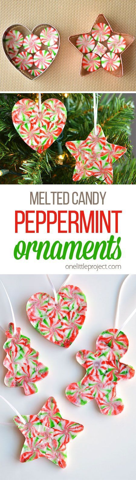 These melted peppermint candy ornaments are ADORABLE and they're super easy to make! Such a fun and inexpensive homemade Christmas ornament idea to make with the kids! (Christmas Ideas For Teachers)