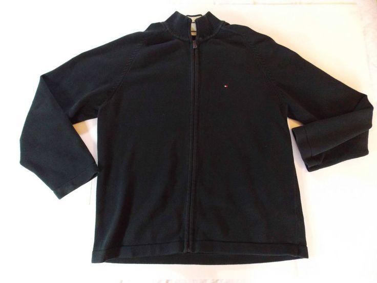 XXL 2XL Mens Tommy Hilfiger Full Zip Sweater Jumper Black Jumper 100% Cotton EUC #TommyHilfiger #FullZip