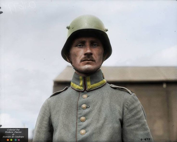 A German soldier photographed in m1916 helmet, July of 1917 captured the Canadians. Colorized version.