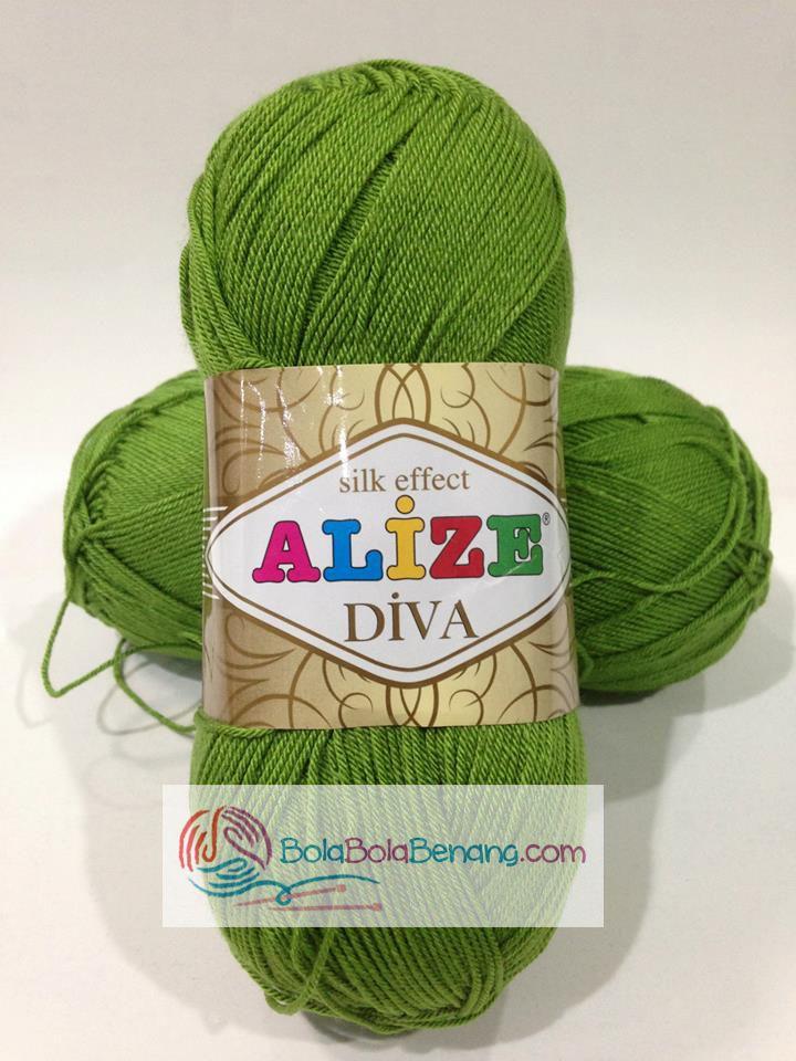 ALIZE DIVA PLAIN 210 Green, Price: 90.000,-/gulung, Bahan: 100% Microfiber Akrilik, Berat/Panjang: 100gr/350m, Knitting Needles: 2,5mm – 3,5mm, Crochet Hook: 1mm - 3mm