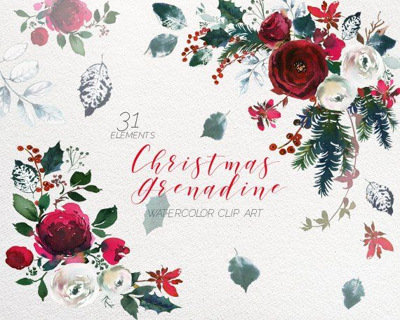 Christmas Watercolor Floral Clipart Watercolour Red Burgundy White