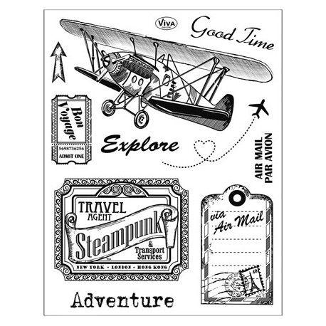 Tampon Dessin Voyage vacance ticket avion