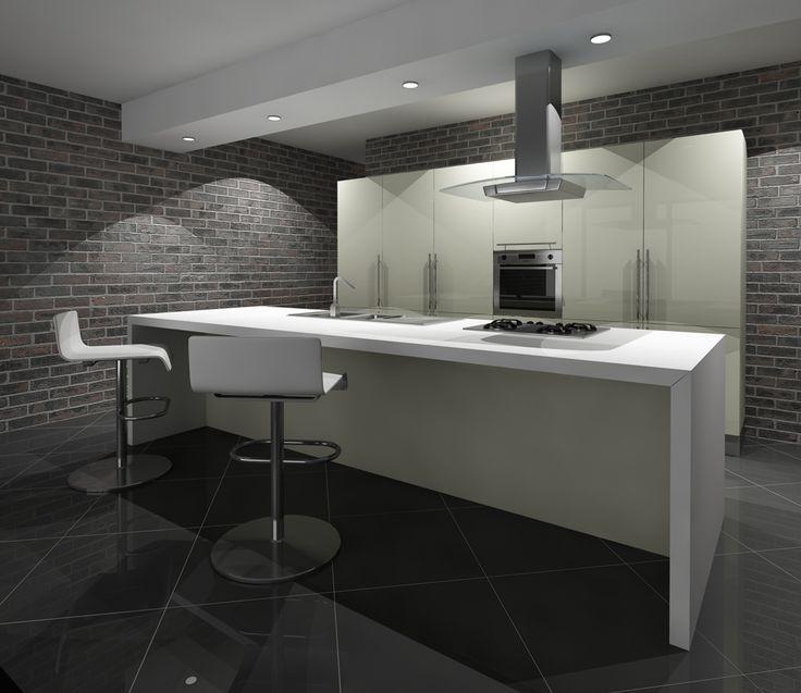 Cucina con pavimento scuro