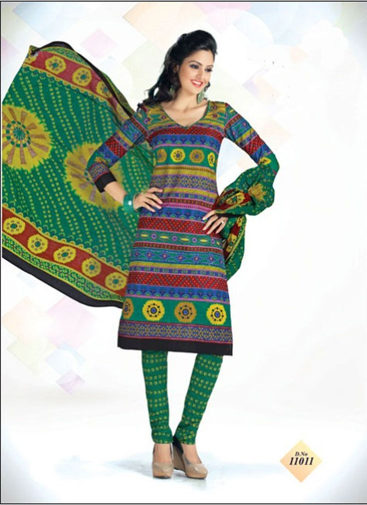 VandV Green In Different Printed Design Dress Material