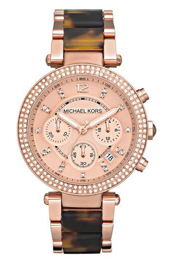 Michael Kors watch - Rose-gold plate and tortoiseshell-patterned resin beautifully combine in a sophisticated round watch brightened by a bevy of sparkling crystals. $250.00