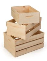 Wooden Crate Dump Bins, Set of 3, Nesting – Natural
