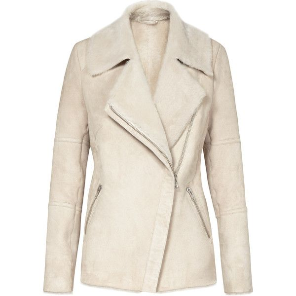 Reiss Annecy Shearling Leather Coat (£995) ❤ liked on Polyvore featuring outerwear, coats, jackets, coats & jackets, neutral, genuine leather coat, asymmetrical zip coat, pink coat, shearling coat and shearling lined coat