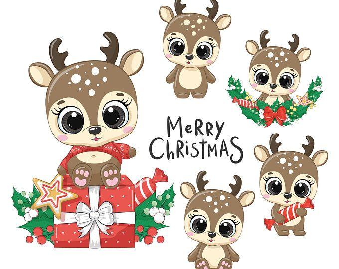Cute Digital Animal Clipart Colorful Vector Png Par Arinafantasy Kawaii Christmas Christmas Drawing Christmas Animals